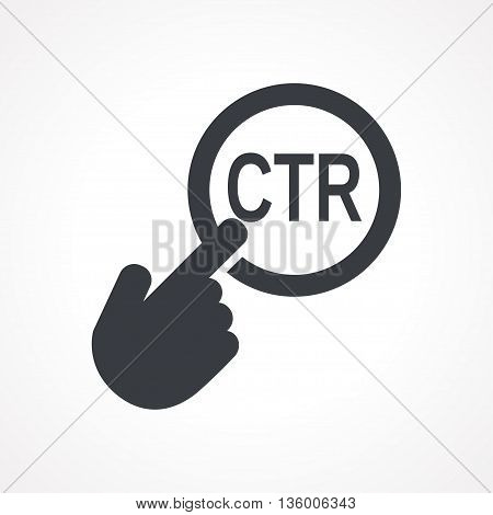 Vector hand with touching a button icon with word CTR on white backgroud