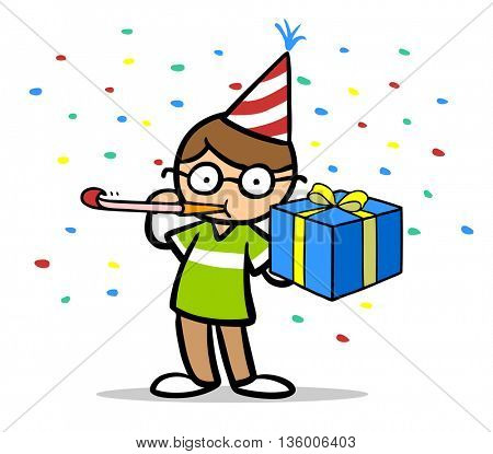 Child celebrating with birthday gifts and confetti