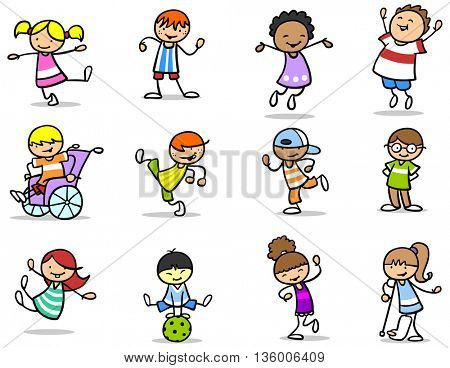 Set of many different children and cartoon kids having fun