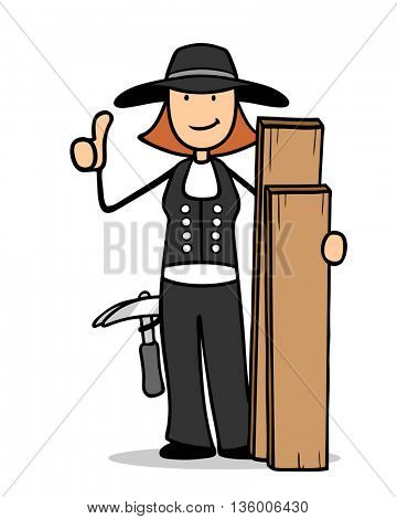Female smiling cartoon carpenter with wood holding her thumbs up