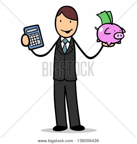 Cartoon businessman with money in piggy bank and a calculator