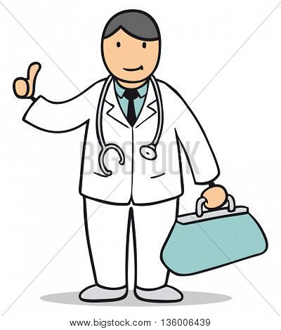 Happy cartoon doctor holding his thumbs up