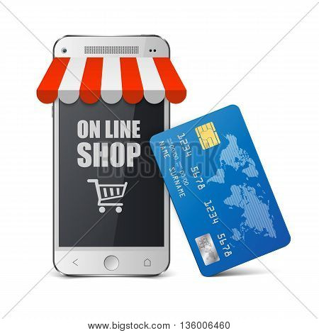 Mobile payment concept, Internet shopping concept smartphone with credit card.vector