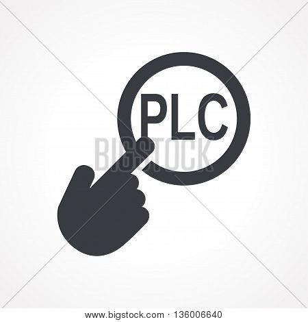 Vector hand with touching a button icon with word PLC on white backgroud