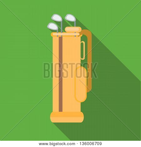 Golf clubs in an orange bag icon in flat style on a green background
