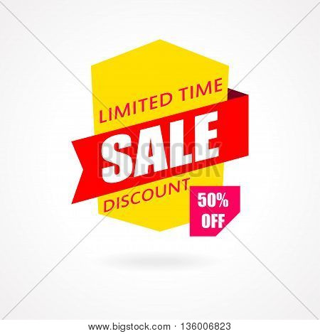 Sale banner. Discount and special offer. 50 percentoff. Vector illustration