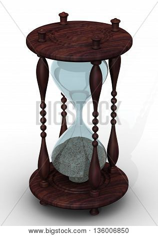 Hourglass on a white surface. Isolated. 3D Illustration