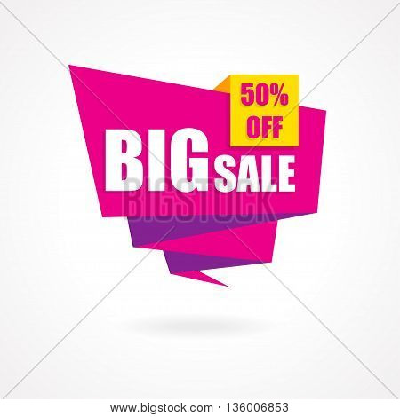Discount 50 percent off - advertising vector banner in origami retro style.