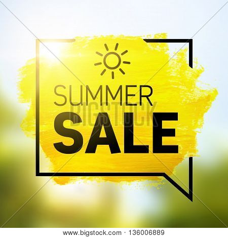 Yellow hand paint artistic dry brush stroke with business text in speech bubble on blurred background. Watercolor acrylic summer sale background for print web design and banners.
