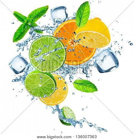 Fresh fruit in water splash over white, close-up.