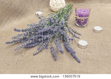 Bouquet of lavender on sacking. Still life.