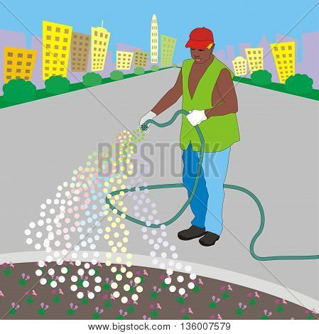 Illustration gardener from municipal service for city landscaping watering a flower bed