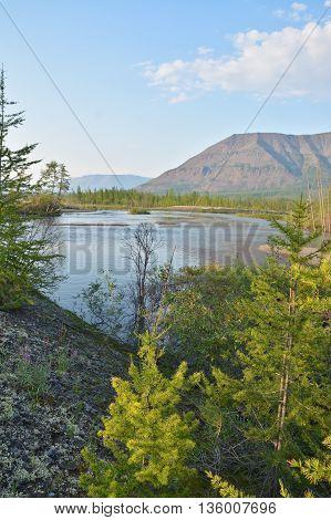 Muksun River the Putorana plateau. Siberian river Summer landscape.