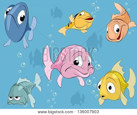 Vector illustration of a fishes in water