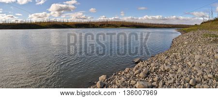 Panorama of North river. Summer landscape of the Taimyr river Fish.
