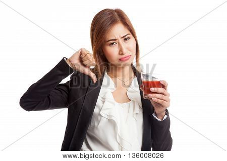 Asian Woman Thumbs Down  Hate Tomato Juice