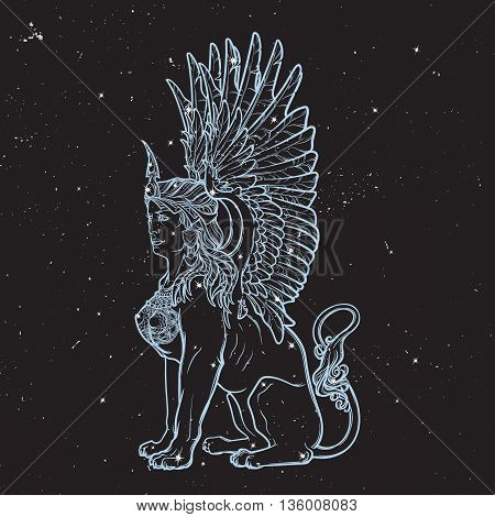 Sitting Sphinx. Ancient Greek mythical creature with beautiful woman torso lion body and eagle wings. Black nightsky background with stars. Zodiac sign. Astrology design. EPS10 vector illustration