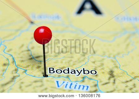 Bodaybo pinned on a map of Russia
