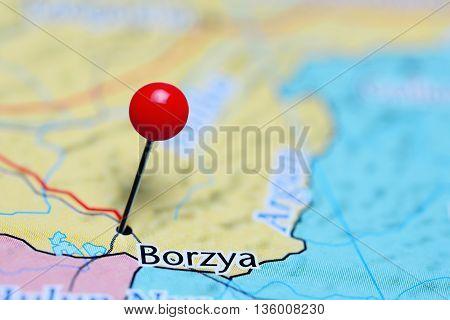 Borzya pinned on a map of Russia