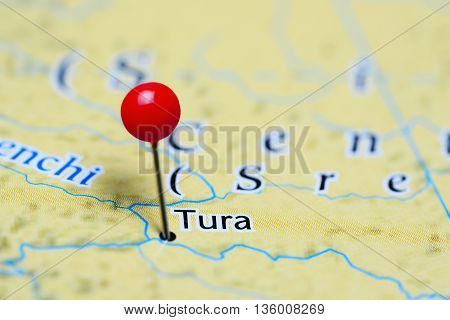 Tura pinned on a map of Russia