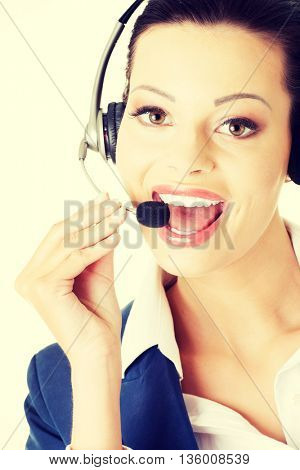 Beautiful young call-center assistant
