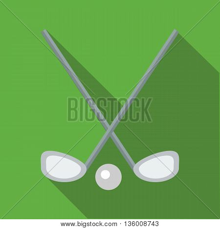 Two crossed golf clubs and a ball icon in flat style on a green background