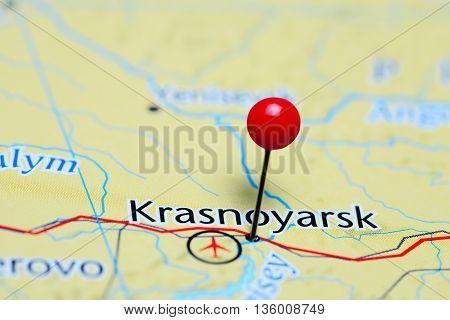 Krasnoyarsk pinned on a map of Russia