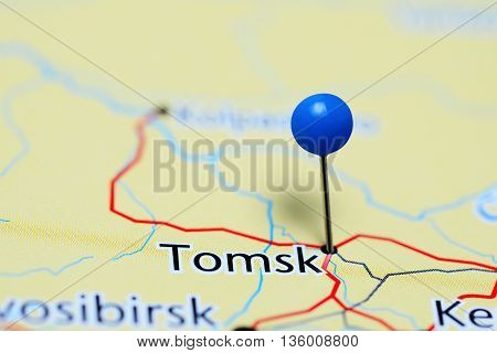 Tomsk pinned on a map of Russia