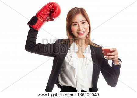 Young Asian Business Woman With Tomato Juice And Boxing Glove