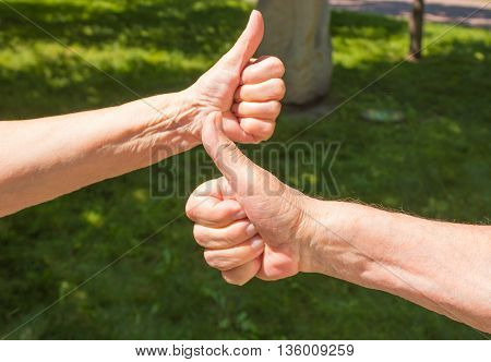 The senior woman and man showing thumbs up in the park