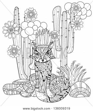 Vector cute fairy wigwam anf fox in cactus doodle isolated.Vector line illustration.Sketch for postcard, print or coloring anti stress adult book.Boho zen art style.