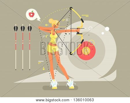 Female archer character. Woman archery with weapon, bullseye and aiming, vector illustration