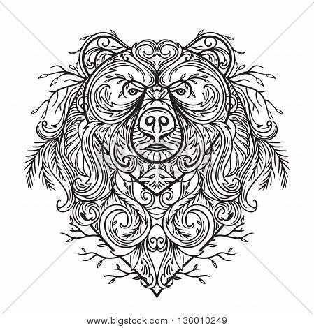 Bear with abstract floral ornament. Tattoo art. Retro banner, card, scrap booking, t-shirt, bag, postcard, poster. Highly detailed vintage hand drawn vector illustration