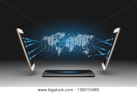 Mobile Phones Vector Illustration with World Map.