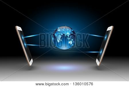 Smart Phones and Globe Connections Design.vector illustration
