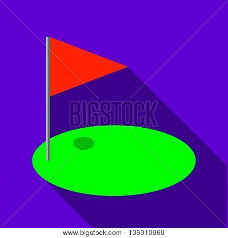Red golf flag icon in flat style on a plum background