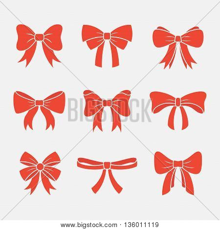 Bows with ribbons vector set isolated on white background. Icons holiday gift bows in flat style. Simple silhouettes decorative red bows with ribbons.