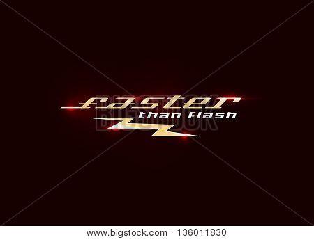 Flash Logo design vector illustration. Fast quick symbol. Rapid thunderbolt colorful icon t shirt print graphics