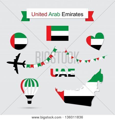 UAE flag and map icons set. United Arab Emirates symbols. Independence Day. Vector Illustration