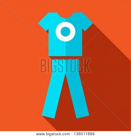 Tshirt and pants, sports uniform icon in flat style on an orange background