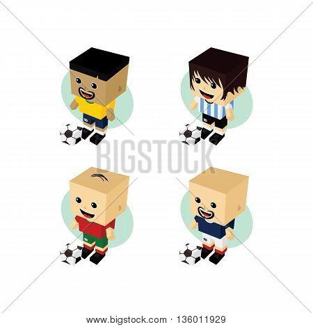 Soccer Player Isometric Cartoon Set