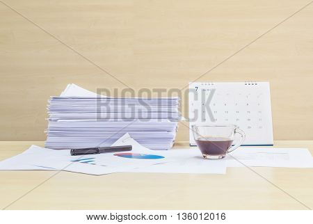 Closeup work paper with black coffee in transparent cup of coffee in work concept on blurred wooden desk and wall textured background in the meeting room under window light