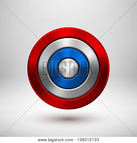 4th of July Independence Day badge, circle button template with metal texture, chrome, silver, steel and realistic shadow for logo, design concepts, interfaces, apps. Vector illustration.