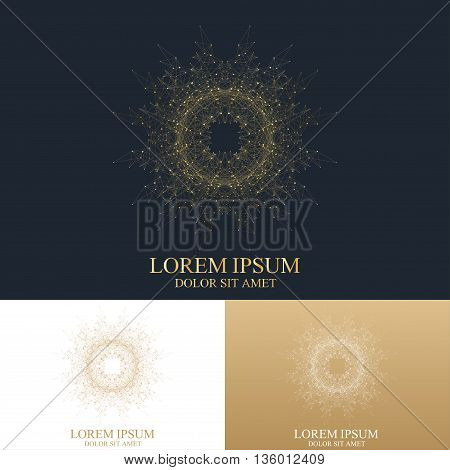 Geometric abstract logo with connected line and dots. Graphic composition for medicine, science, technology, chemistry. Vector Logo Template. Golden design Logo in trendy linear style