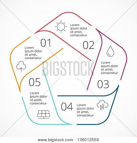 Circle arrows diagram for graph infographic presentation with 5 steps parts options.