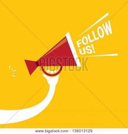 Follow us vector orange banner. Follow us on online media social networking. Follow us concept illustration for web.