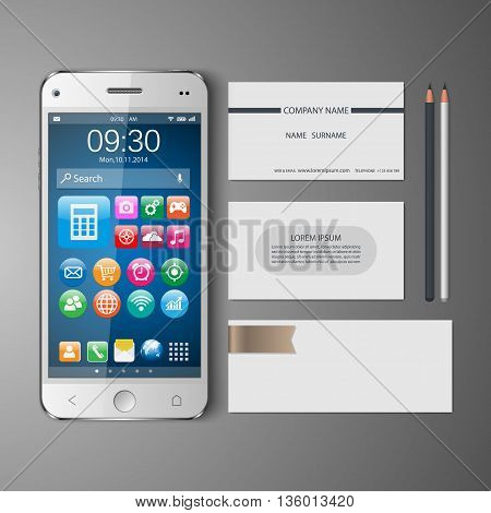 Templates:blank, business cards, smart phone,pencil, Vector illustration.