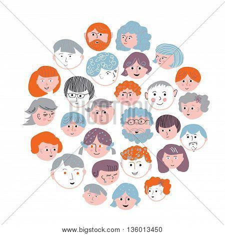 Set of faces cartoons card - round design vector illustration