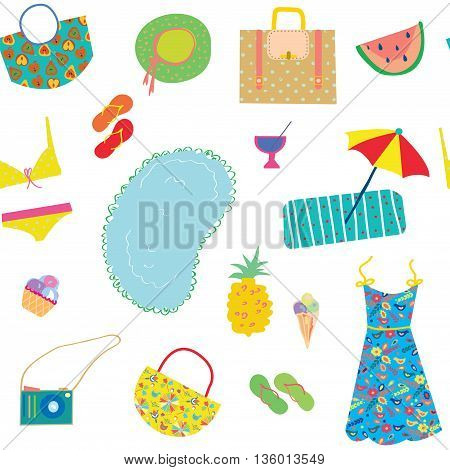 Summer funny pattern for woman with accessories fruits and icecream vector illustration design