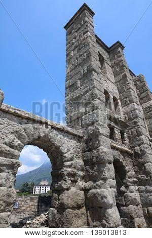 The Roman Theatre of Aosta in Italy